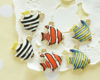 3 pcs Tropical Fish Print Metal Charm (15mm17mm) AZ193