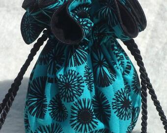Anti Tarnish Jewelry Bag in Black and Turquoise, Trees