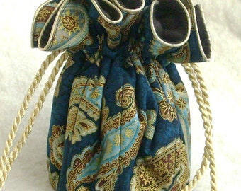 Anti Tarnish Jewelry Bag Pouch in Regal Paisley on Royal Blue