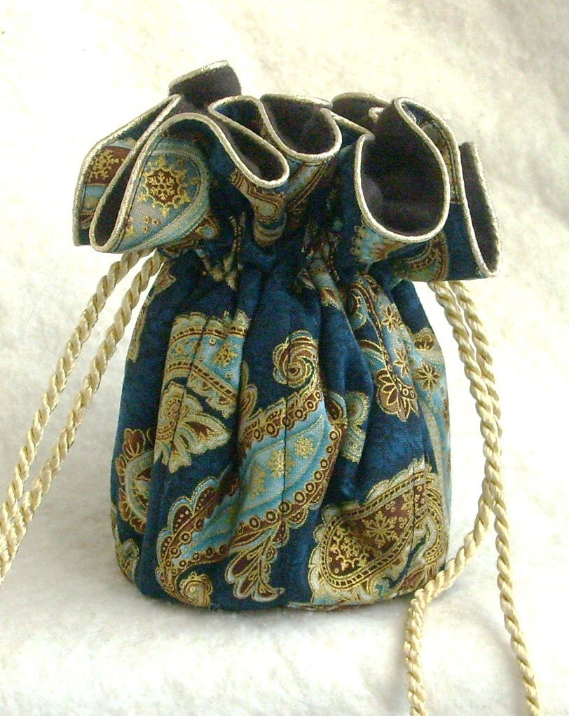 Paisley anti tarnish jewelry bag pouch in regal royal blue for Anti tarnish jewelry bags