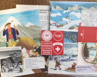 Christmas and Winter Switzerland Holiday Vintage Collage, Scrapbook and Planner Kit Number 1973