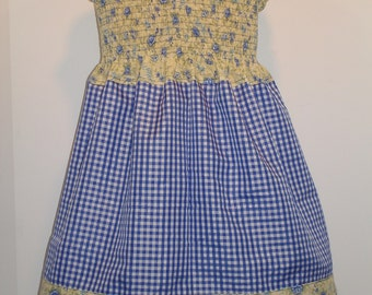 Toddler Girls Shirred Sundress Birthday Party Vacation Dress up Photos Gift Size 2 3 4 Blue Floral Gingham Checked Cruise WDW Halter Top