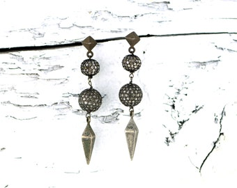 Pave Diamond Ball and Spike Dangle Earrings Sterling Silver and Black Rhodium
