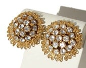 Vintage Miriam Haskell Earrings Rhinestone & Russian Gold Filigree