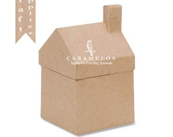 Small Kraft Paper Mache House Unfinished DIY