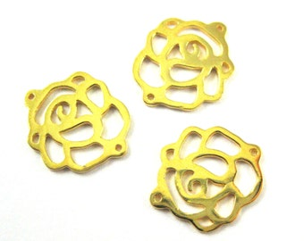Gold Charms, Gold plated Sterling Silver Charms, Connectors- Rose Charm Pendant, High Polish Gold Rose Charm ( 15 mm- 2 pcs)-SKU: 201010-VM