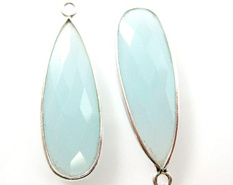 March Birthstone-Bezel Pendant,Gemstone Pendant-Sterling Silver Charm-Aqua Chalcedony -Long Teardrop Shape -34x11mm -2 pcs - SKU: 201113-AQC