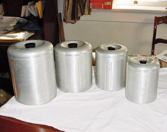 Vintage 50s Metal Canister Set of 4 Nesting Made in Italy