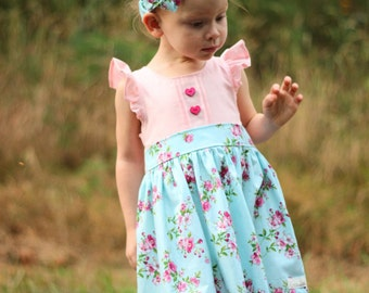 Toddler Girl Dresses, Little Girls Clothing, School Clothes for Girls, Pink Floral Dress, Newborn Girls Dresses, Floral Girls Dress, Summer