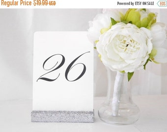 20% off ends 5pm Mon. Silver Wedding Table Card Holders | Silver Glitter Wedding Table Number Holder - Set of 10