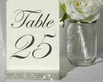 Table Number Holder + Silver Table Number Holder + Silver Wedding Table Number Holders with rhinestone wrap- Set of 10