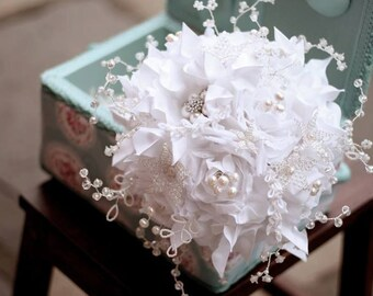 Wedding bridal brooch bouquet - pure silk couture flowers - french beaded crystal flowers MINI VENUS -  Whimsical Delights collection