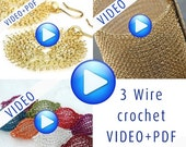 20% OFF - Stunning jewelry crochet pattern, video tutorial with PDF, instant download, 3 in one combo,step by step instructions, earrings, c