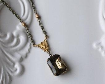 On SALE / CIJ Sale / Smokey Grey Rhinestone Necklace / Antiqued Brass Necklace / Elegant Rectangle Rhinestone / Estate Style Necklace / Grey