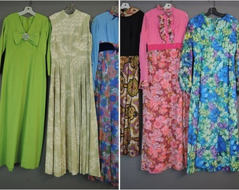 Lot of 6 Vintage Maxi Dresses from the 1960s 1970s - Colorful Floral Chiffon Prints - Cheap, Resale, Wholesale