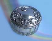 Vintage 50s Glass Powder Jar Silver Lid & Puff