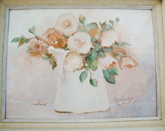 vintage painting  floral impresionist style cottage chic shabby pastel gouache