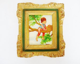 vintage miniature painting baby bird and boy in tree