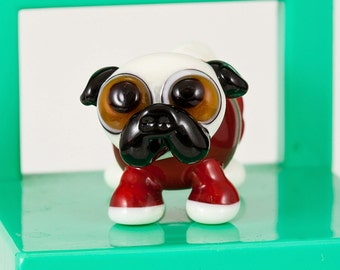 Pug in a Snuggie Lampwork Dog Bead