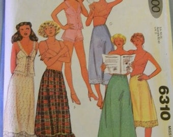 Vintage McCall's Petticoats, Slips, Camisole and Panties Pattern #6310 Uncut Size Medium