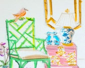 Bamboo Chippendale Chair, Art Print, Foo Dogs, Furniture, Chinoiserie Interior, Pastel Colors, Orchids, Interior Scene, Ginger Jar Lamp
