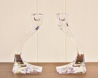 Vintage crystal glass candlesticks