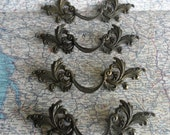 SALE! 4 mid century ornate distressed brass metal French Provincial handles