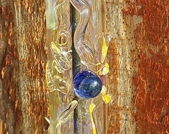 Hanging Glass Incense Burner with Cobalt Blue Center Sunburst Symbol 2