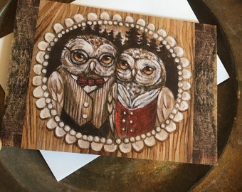 "Owl couple 5x7"" greeting card - 5 pack"
