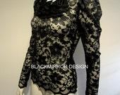 Black Edwardian lace top
