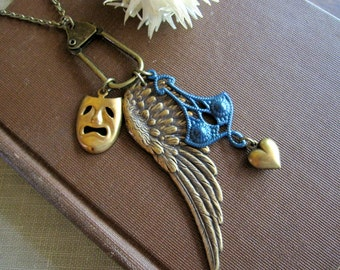Wing Charm Necklace, Theater Mask, Wing Necklace, One of a Kind, Puffed Heart Charm, Brass Wing, Teal Blue, Gifts for Friends, For Her, OOAK