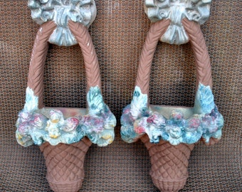 Vintage Chalkware Flower Baskets - Wall Pockets - Set of 2 -  Flowers - Garden Ruffled Bow Plaster Decor - Cocoa Brown with Pastel Colors