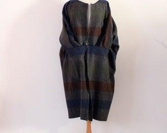 custom gray stripes boild wool kangaroo pocket coat  / jacket/ suit open center / over size