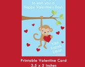 Monkey Valentine Card, Instant Download Cards --- Digital File of 4 (3.5x5 inch) Cards