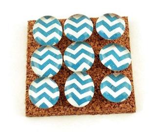 Decorative Funky Push Pins  Thumb Tacks Cork Board Pins  Turquoise Chevron (P122)