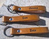 Personalized Leather Key Chain with Text on Both Sides - 5/8 inch Wide Strap