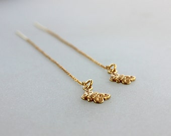 Gold  Thread Earrings - butterfly earring -  Ear Threader Earrings - Minimal Jewelry - Long Gold Dangle Earring  - Butterfly Charm Earrings