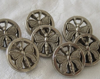 Set of 7 VINTAGE Silver Metalized Plastic Butterfly BUTTONS