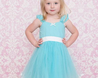 AQUA TUTU  DRESS in aqua tulle skirt for baby toddler girl .. holiday birthday party  portrait flower special occasion