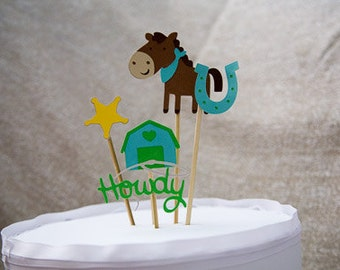 Horse and Barn theme cake topper