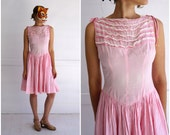 Vintage 50's Pink and White Cotton Gingham Lace Ruffled Sleeveless Day Dress | Small/Medium
