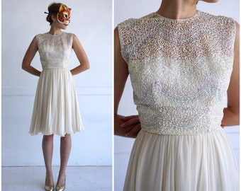 Vintage 50's Creamy Off-White Sheath Dress with Pastel Rainbow Beaded Bodice and Soutache by Sadye's Tulsa | XS Small