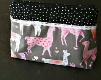 Zipper Bag Pouch Knitters project or Tool Bag Crochet Project Pouch with Alpacas