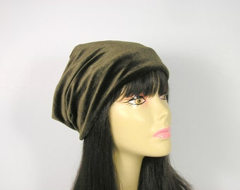 Army Green Beanie Olive Green Slouch Hat Army Green Slouchy Hat Velvet Hat for Hair Loss Olive Green Slouchy Beanie Army Green Velvet Hats