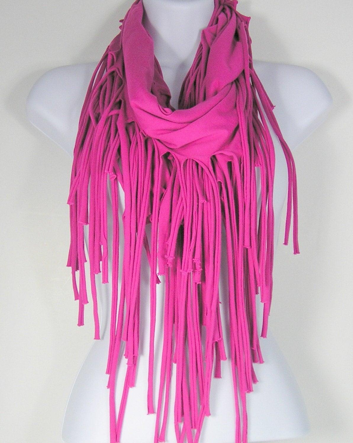 fringe t shirt scarf pink cotton fringed infinity scarf