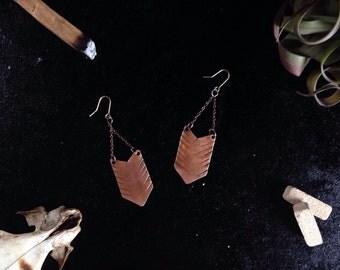 Copper Fletching Earrings