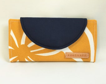 Fiona Wallet in Navy Canvas and Twirly Yellow