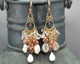 Keishi Pearls, Rose Quartz, Pink Opal,  Garnet, Sunstone, Scapolite chandelier earrings, CZ pave Vermeil hooks ... DALAJA Earrings