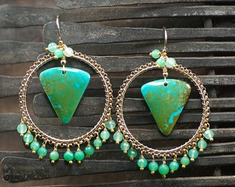 Turquoise earrings, Chrysoprase gemstone chandelier earrings,14k Gold Filled Ear hooks, December Birthstone ... JULI Earrings