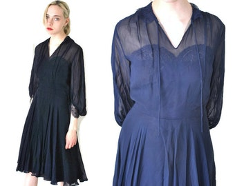 1950s navy blue CHIFFON dress 50s vintage swing dress MID CENTURY new look dark blue lace dress small